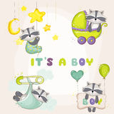 Baby Racoon Set - for Baby Shower or Baby Arrival Cards. In vector Royalty Free Stock Image
