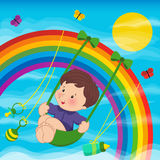 Baby on the rainbow Royalty Free Stock Photo
