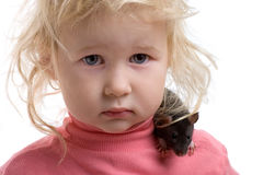 Baby with rat Royalty Free Stock Image