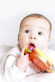 Baby with a rattle. Portret of a baby with a rattle royalty free stock photo