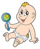 Baby with rattle. Color illustration Royalty Free Stock Images