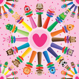 Baby rattle cartoon bell circle symmetry seamless pattern Stock Images