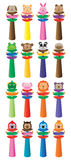 Baby rattle cartoon bell set Royalty Free Stock Photos