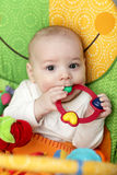 Baby with rattle ring Stock Images
