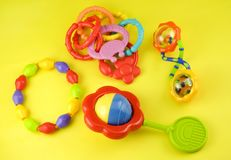 Baby Rattles and Teething Rings Stock Photo