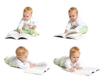 Baby reading. Photo montage of baby reading Stock Photos