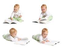 Baby reading stock photos