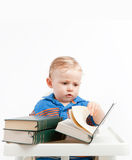 Baby reading stock photo
