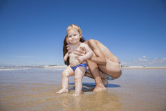 Baby ready to ocean Stock Image