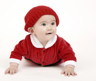 Baby Boy in Red Christmas Santa Outfit Royalty Free Stock Images