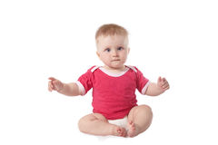 Baby in red Royalty Free Stock Image