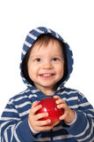 Baby with red apple Stock Images
