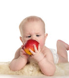 Baby with red apple Royalty Free Stock Image