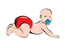 Baby in red diaper Stock Photo