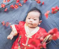 Baby in red dress on blue cloth with flower and looking. Concept Chinese New Year. stock image