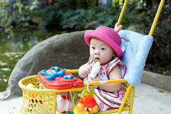 Baby in red hat Royalty Free Stock Image