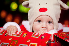 Baby in a red present box Royalty Free Stock Images