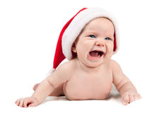 Baby in red Santa hat Royalty Free Stock Images