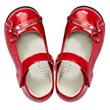 Baby red shoes on white Royalty Free Stock Photos