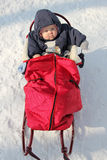 Baby in red sledge Stock Photos
