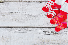Baby red striped socks Royalty Free Stock Image