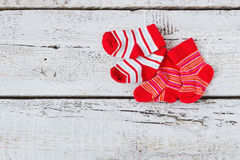 Baby red striped socks Stock Photo