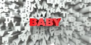 BABY -  Red text on typography background - 3D rendered royalty free stock image Royalty Free Stock Photos