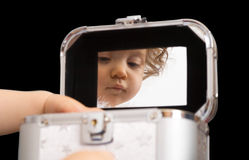 Baby reflection in the mirror, isolated Stock Photos