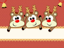 Baby reindeers christmas card Royalty Free Stock Images
