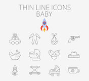 Baby related flat vector icon set Stock Photo