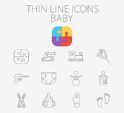 Baby related flat vector icon set Royalty Free Stock Image