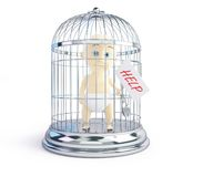 Baby request for assistance in a bird cage 3d Illustrations Stock Images