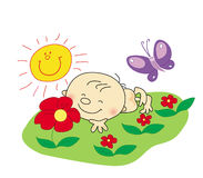 baby rest in summer royalty free illustration