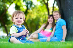Baby resting in the summer park. picnic Royalty Free Stock Images