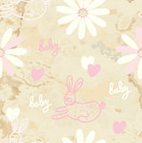 Baby retro seamless background with paper Royalty Free Stock Image