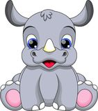 Baby rhino cartoon. Illustration-very cute baby rhino stock illustration