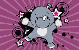Baby rhino jumping cartoon background Stock Photo