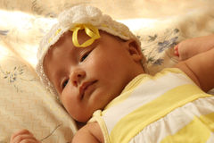 Baby in ribbon Royalty Free Stock Photos