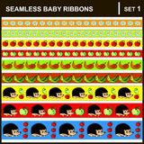Baby ribbons horizontal. Scrap booking seamless baby border ribbons set with straight lace sewn on to the fabric and buttons. Vector Illustration. Horizontal Stock Photo
