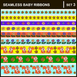 Baby ribbons horizontal. Scrap booking seamless baby border ribbons set with straight lace sewn on to the fabric and buttons. Vector Illustration. Horizontal Stock Photos