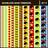 Baby ribbons vertical. Scrap booking seamless baby border ribbons set with straight lace sewn on to the fabric and buttons. Vector Illustration.  Vertical Royalty Free Stock Images