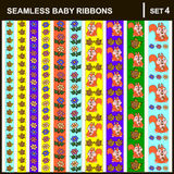 Baby ribbons vertical. Scrap booking seamless baby border ribbons set with straight lace sewn on to the fabric and buttons. Vector Illustration.Vertical Stock Image