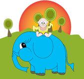 Baby Riding Elephant Royalty Free Stock Image