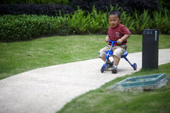 Baby riding tricycle Royalty Free Stock Images