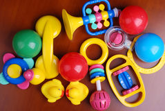Baby rings and colorful balls stock image