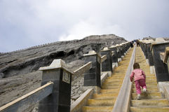 Baby rising stairs on Bromo volcano Stock Photography