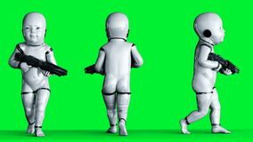 Baby robot animation. Phisical, motion, blur. Realistic 4k green screen animation.