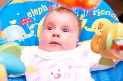 Baby on rocker Royalty Free Stock Images
