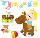 Baby on rocking horse Stock Images