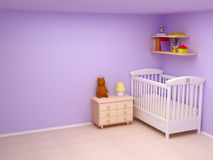 Baby room. Babys bedroom with commode and bear. Pastel colors, empty room